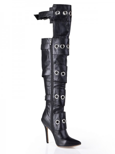 Cattlehide Leather Stiletto Häl Med Buckle Knee High Svart Stövlar