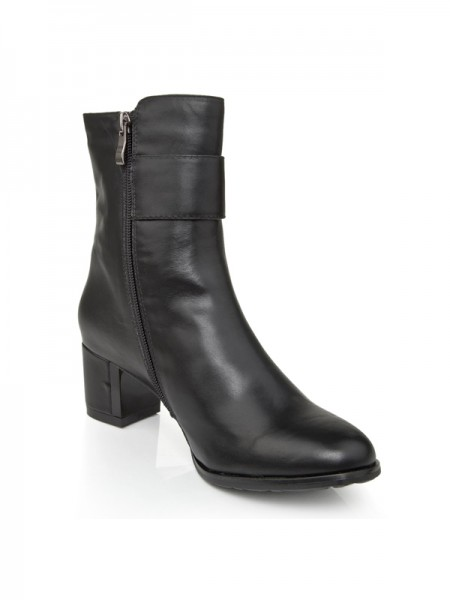 Cattlehide Leather Chunky Häl Med Zipper Booties/Ankle Svart Stövlar