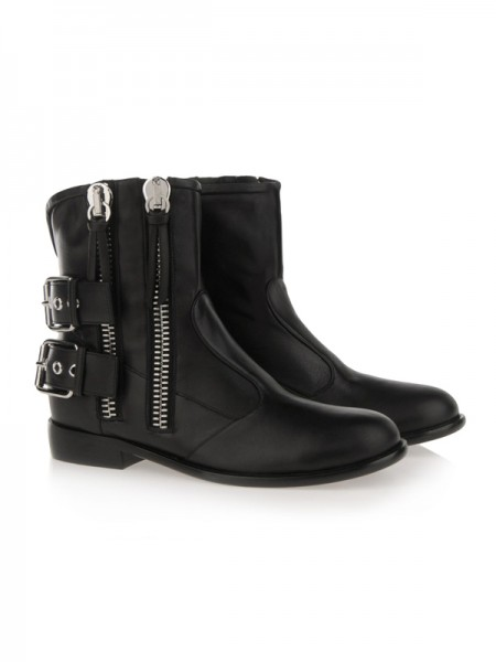 Cattlehide Leather Med Zipper Kitten Häl Booties/Ankle Svart Stövlar