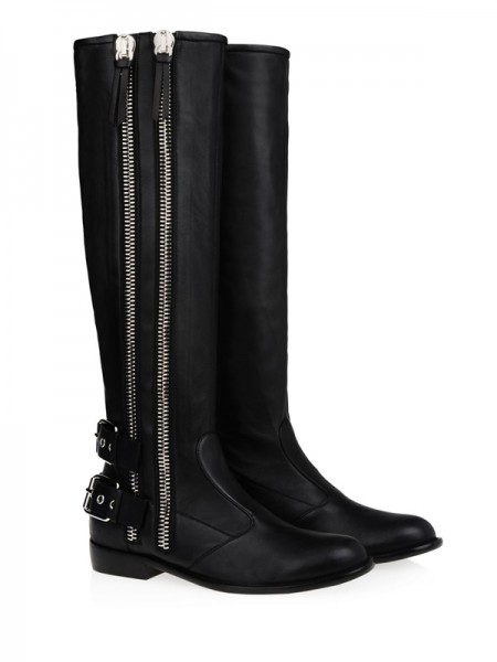Kitten Häl Cattlehide Leather Med Buckle Zipper Knee High Svart Stövlar