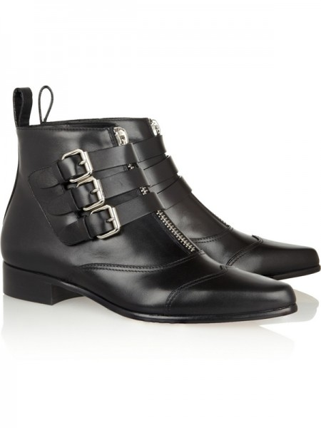 Flat Häl Stängd Tå Cattlehide Leather Med Buckle Zipper Svart Booties